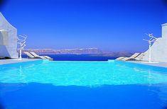 Astarte Suites Santorini pool view Aegean Sea