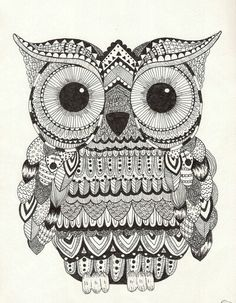 owl zentangle: I'm going to do this doodle on the top of a short,white, bookshelf. # forthebedroom