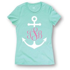 Board Life Mint Anchor Monogram Fitted Tee ($20) ❤ liked on Polyvore featuring tops, t-shirts, layering tee, anchor tee, fitted t shirts, nautical t shirts and graphic design tees