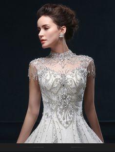 Elegante de Encaje de perlas cosidas a mano, hoolow cabo vestido de las mujeres atractivas de manga larga vestido de boda del vendaje