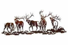 "30"" Elk Scene (Boys Night Out) Metal Wall Art"