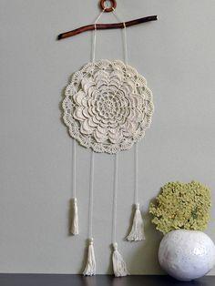 Dream catcher Beige bohemian wall decor Rustic doily Country house crochet wall…