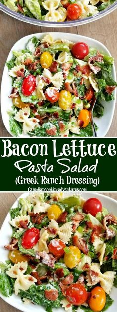 This Bacon lettuce tomato pasta salad is just like BLT without the bread. It is tossed with bowtie pasta to make a full meal that you are going to enjoy! #BLT #PASTASALAD #SALAD #BACON #DRESSING Tomato Pasta Salad, Pasta Salad Recipes, Healthy Salad Recipes, Shrimp Salad, Shrimp Pasta, Egg Salad, Tuna Pasta, Ramen Recipes, Tuna Salad
