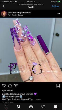 Purple Nails, Bling Nails, Swag Nails, Acrylic Nails Coffin Pink, Long Square Acrylic Nails, Drip Nails, Glow Nails, Dope Nail Designs, Acrylic Nail Designs