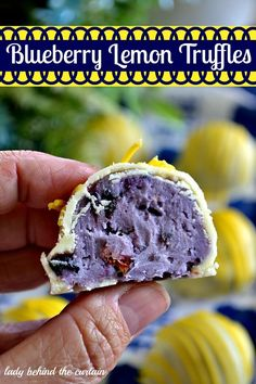 Filled with creamy blueberry preserves, cream cheese, white chocolate and then coated with tart lemon flavored chocolate.