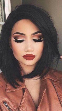 Makeup Looks Party Lip Colors Ideas Gorgeous Makeup, Pretty Makeup, Love Makeup, Makeup Inspo, Makeup Inspiration, Makeup Style, Pretty Hair, Amazing Makeup, Nail Inspo