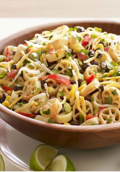 Mexicali Pasta Salad -- Who needs a mariachi band? Fresh cilantro and lime juice make this healthy living, taco-inspired pasta salad recipe sing out loud with tangy flavor.