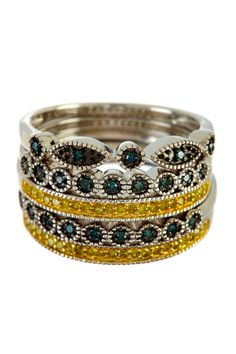 Blue & Yellow Diamond Stackable Rings - 0.33 ctw