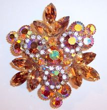 Vintage Delizza & Elster D & E Juliana   Brooch with Topaz, Sapphires,  Opals, and Emeralds.  Opals