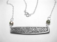 Chelsea Spoon Necklace w/ faceted smoke grey glass by letsspoon, $18.95