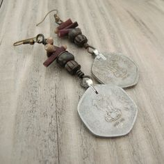 Indian Coin Earrings Gypsy Assemblage Dangles by GypsyIntent