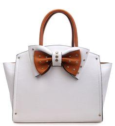 c481de3221 Elegantly Designed UKFS Bow Beth Top Handle Handbag 34310 - White