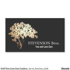 Gold Tree Lawn Care Landscape and Garden Designer Double-Sided Standard Business Cards (Pack Of 100)