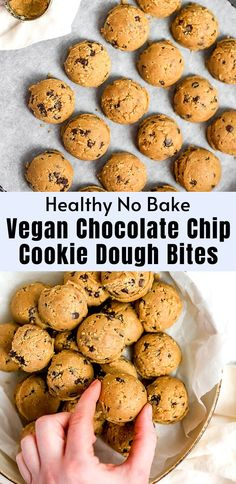 Craving cookie dough? Try my edible cookie dough and feel free to eat it by the spoonful! These healthy, vegan and gluten free no-bake cookie dough bites are the perfect snack or dessert. Make these easy chocolate chip cookie dough balls in under 10 minutes. Gluten Free No Bake Cookies, Easy Vegan Cookies, Easy Chocolate Chip Cookies, Healthy Cookies, Chocolate Recipes, No Bake Cookie Dough, Healthy Cookie Dough, Baking Recipes, Snack Recipes