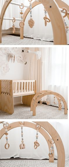 Scandi style wooden baby gym by Nester and Cub. Modern, classy baby wooden decor perfect for a gender neutral nursery. Natural wooden arch design perfect for baby development. Featured in a light and airy floral nursery. Natural Nursery, Baby Nursery Neutral, Floral Nursery, Boho Nursery, Elephant Nursery, Woodland Nursery, Modern Nursery Decor, Baby Room Decor, Wooden Decor