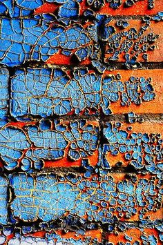 I really like the texture and pattern in the blue peeling paint, and the thinning out of the rust. I also like the sharp contrast in complementary colours. Textures Patterns, Color Patterns, Art Texture, Blue Texture, Peeling Paint, Color Inspiration, Colours, Artwork, Prints