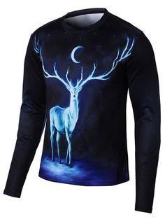 Long Sleeve Elk 3D Print Galaxy T-Shirt - BLACK 4XL