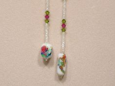 Swarovski Crystal, glass seed bead lariat necklace, white, green, pink, L73. $ 56.00, via Etsy.