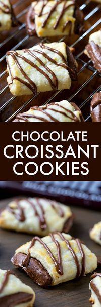 Chocolate Croissant Cookies - a buttery dough wrapped around a chocolate bar.
