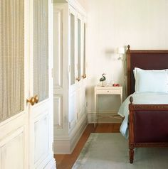 The Greenwich Hotel guest room in New York. Maybe built in cabinets rather then closets would be pretty along one of long walls.