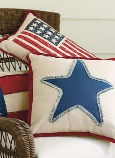 A single star says it all on the Americana Star Fringed Pillow.