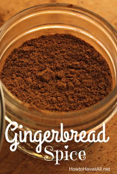 Make homemade gingerbread spice for holiday baking! So easy to make your own spice mixes! Homemade Spice Blends, Homemade Spices, Homemade Seasonings, Spice Mixes, Tandoori Masala, Get Thin, Recipe Mix, Recipe Spice, Seasoning Mixes