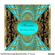 Teal Blue Green Jade Black Floral Birthday Party 2 Card