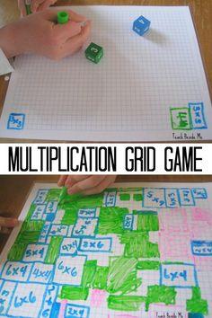 Multiplication Grid Game- fun math game for Kids- also good for teaching area via @karyntripp