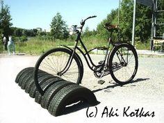 recycled tire bike rack