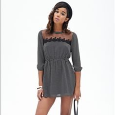 HOST PICK  Polka Dot Embroidered Dress - Polka Dot Print Fit and Flare Dress - Sheer Mesh Yoke that features an Embroidered Scalloped Trim - Elasticized Waist - 3/4 Length Sleeves with Elasticized Trim for a Comfortable Fit - Lightweight - Buttoned Keyhole Back - Worn for 2 Hours - Looks Great with Black Tights and Heels! Forever 21 Dresses
