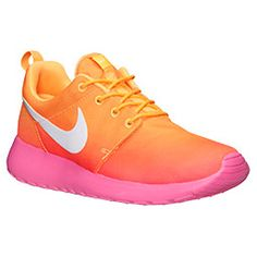 Women\u0026#39;s Nike Roshe Run Print Casual Shoes | FinishLine.com | Atomic Mango/White