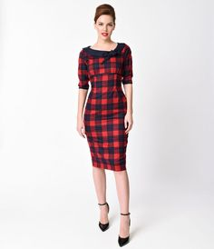 Banned 1940s Style Navy & Red Plaid Half Sleeve Take Me To Paris Wiggle Dress