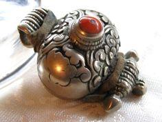 Antique Tibetan small Gau Amulet Prayer box with coral stone ...