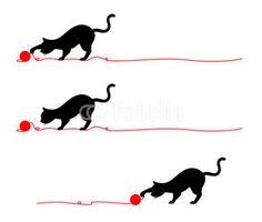猫のシルエットライン/毛糸