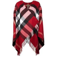 Burberry Collette Merino Wool Cashmere Check Cape Parade Red in red,... ($1,125) ❤ liked on Polyvore featuring accessories, hats, merino wool cap, red cashmere hat, burberry hat, burberry and red hat