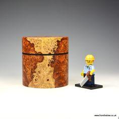 Amboyna burr & ebony lidded box. Made by George Watkins