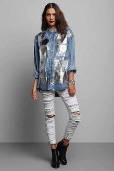 Metallic silver foil Jean Shirt