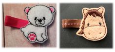 Themed embroidered felt appliques on partially lined alligator clips by JustbyJaime, $5.50
