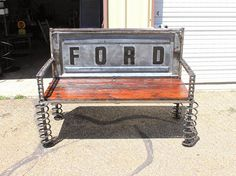 Tailgate Benches  Recycled Salvage www.recycledsalvage.com #recycledsalvage #trucktailgate #tailgatebench