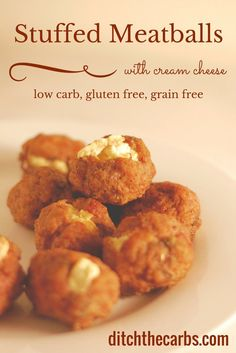 Oh my word. Try this easy recipe for cream cheese stuffed meatballs. Low carb and gluten free stuffed meatballs are perfect for appetiser, snack, lunch, whatever! #lowcarb #lchf   ditchthecarbs.com