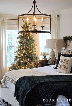 Seasons of Home - Some Christmas Touches in Our Master Bedroom - Dear Lillie Studio Cool Christmas Trees, Noel Christmas, Beautiful Christmas, Primitive Christmas, Country Christmas, White Christmas, Christmas Lights, Christmas Ideas, Christmas Porch