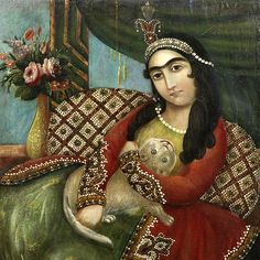 Lady with the cat c.1840-Qajar-Persia.