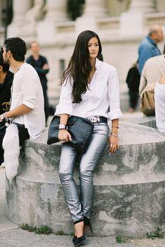silver skinny jeans - crisp white shirt - black belt & shoes
