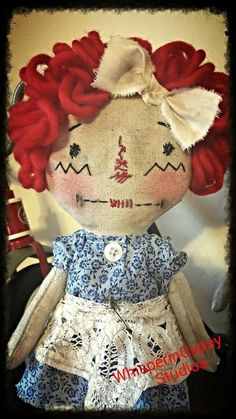 Cloth standing Raggedy Ann type doll. Primitive Doll by WhisperingGypsy Studios.