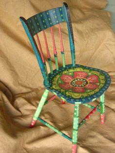 Painting It: Painted Chairs--Love! I want to do this with my dining room set that's seen better days, but still sturdy.