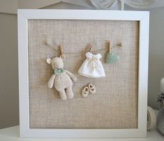 Nursery frame. Nursery decor. Baby's room frame. Baby gift. Baby shower. Crochet Little bear frame.