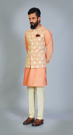 Orange kurta pathani with designer waistcoat.Get the outfit for Manufacturer rate call or WhatsApp at Mens Fashion 2018, Indian Men Fashion, Suit Fashion, Kurta Pajama Men, Kurta Men, Mens Indian Wear, Indian Groom Wear, Wedding Dresses Men Indian, Wedding Suits