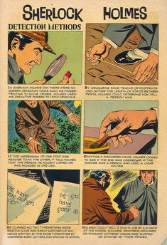 "Sherlock Holmes detection methods - from ""The Safe Robber"" comic book short story by Paul S. Newman and Bob Fujitani Sherlock Holmes, Moriarty, Detective, Cyberpunk, Jeremy Brett, Dr Watson, Guy, Sherlock Quotes, 221b Baker Street"