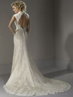 Classic Mermaid Cap Sleeves Satin &Tulle Lace Appliques Wedding Dress