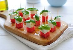 Watermelon Feta Caprese Bites / Bev Cooks
